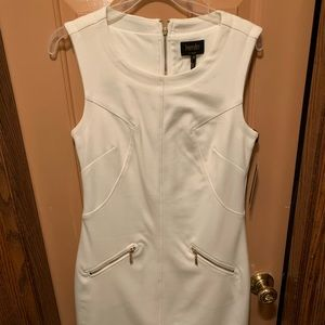Beautiful slimming white dress with zip front